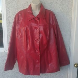 Koret Women Plus Size 22W Red Faux Leather Jacket